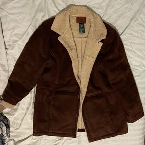 ralph lauren brown shearling faux suede coat